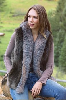 Raquel Long-Haired Beaver Fur Vest with Fox Fur Trim 1,795.00