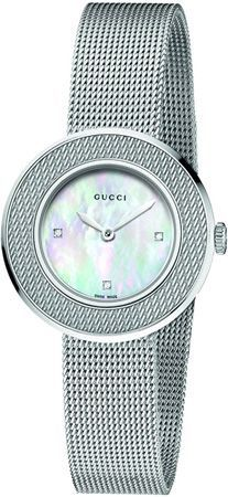 0171e0d9242 Gucci  U-Play  Round Diamond Dial Mesh Watch