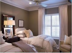 TWIN BEDS IN SMALL ROOMS | Twin bed guest room. by melgolding... LOVE, LOVE TAN, WHITE AND BROWN TOGETHER!
