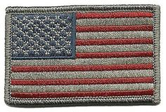 """[Single Count] Custom, Cool & Awesome {3"""" x 2"""" Inches} Rectangle Patriotic National Stars and Stripes American Flag (Tactical Type) Velcro Patch """"Gray, Red & Blue"""""""