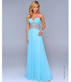 Nina Canacci 2014 Prom Dresses - Baby Blue Chiffon & Beaded Empire Waist Prom Dress - Unique Vintage - Prom dresses, retro dresses, retro swimsuits.
