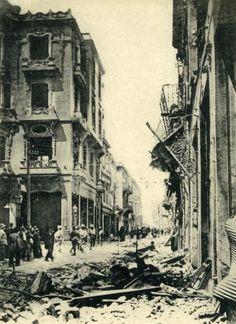CPA-CARTE-POSTALE-GRECE-SALONIQUE-INCENDIE-FIRE-WW1-1917-CAFE-FLOCA