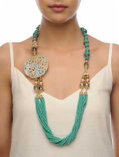 Turquoise-Beige Carved Onyx Necklace