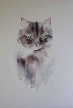 Image result for paintings and drawings of Jean Haines #CatWatercolor