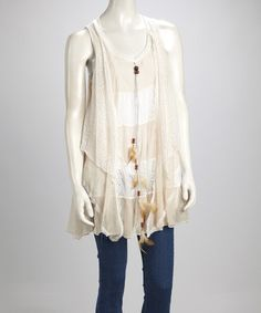Take a look at this Caramel & Cream Lace Silk-Blend Sleeveless Swing Tunic by Pretty Angel on #zulily today!