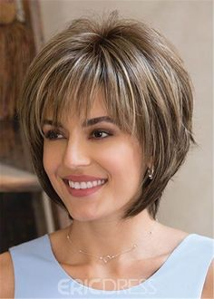 Layered Mixed Color Straight Synthetic Hair With Bangs Capless Cap Women Wigs – Trending Hairstyles Layered Bob Hairstyles, Bob Hairstyles For Fine Hair, Short Bob Haircuts, Short Hairstyles For Women, Wig Hairstyles, Trending Hairstyles, 1930s Hairstyles, Straight Haircuts, Quick Hairstyles