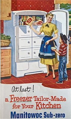 okay, what's in those closed doors/drawers in a fridge? ~~ Manitowoc Sub-Zero freezer, 1952