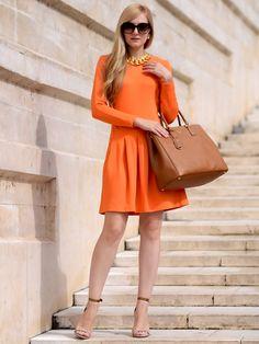 Ganni | Palais Royal Long Sleeve Fit-n-Flare Pleated Dress in Orange Peel | GIRISSIMA.COM