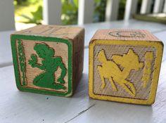vintage Disney wooden blocks (2), Snow White and Bambi, alphabet blocks by MotherMuse on Etsy