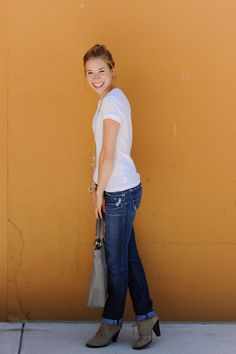 A pair of Gap jeans and a Gap T as featured on the blog Sidewalk Ready. Might need some boots like this for fall.