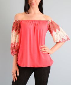 50ff571ebad4c This Coral Danielle Off-Shoulder Top by Vava by Joy Han is perfect!