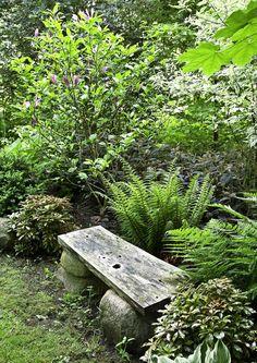 Oleskelupaikka on yksinkertaisimmillaan tällainen: kivenmurikoiden päälle viritetty leveä lauta lehtevien kasvien ympäröimänä. Katso lisää ideoita kodikkaaseen puutarhaan meillakotona.fi | Meillä kotona