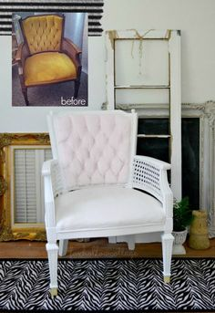 before and after velvet painted upholstery makeover - Gorgeous!