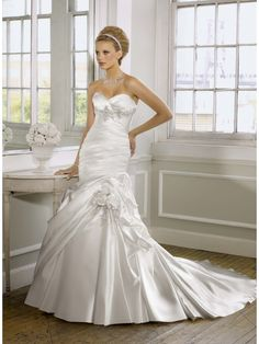 Luxurious sexy Sweetheart Satin Mermaid Wedding Dress ML1603