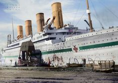 The Britannic, sister ship of the Titanic, which was converted into a hospital ship in the first world war and sunk by a German mine in the Mediterranean in 1915 where she still lies today. Titanic History, Rms Titanic, Colorized History, Steam Boats, Abandoned Ships, Ghost Ship, Tug Boats, Tall Ships, Photo Reference
