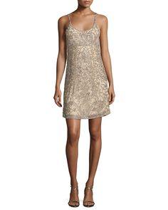 Hayden Beaded Slip Dress, Nude
