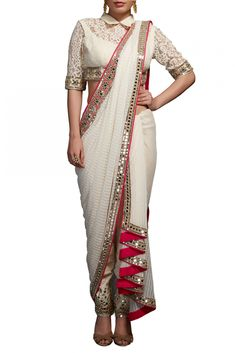 Buy Neeta Lulla Off White Saree Drape With Blouse & Fitted Pants online in India at best price.This ensemble comprises of off-white embellished blouse with mirror and pearl embroidery, matching thick Saree Draping Styles, Saree Styles, Drape Sarees, Drape Gowns, Draped Dress, Indian Dresses, Indian Outfits, Pakistani Dresses, Indian Attire