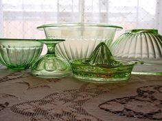 Brayton does this look familar to you Green Depression glass Antique Glassware, Fenton Glassware, Pots, Vaseline Glass, Vintage Dishes, Carnival Glass, Glass Collection, Cut Glass, Colored Glass