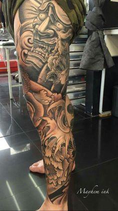 Bella tinta Japanese Leg Tattoo, Japanese Legs, Japanese Tattoo Designs, Tattoo Designs Men, Full Leg Tattoos, Hot Tattoos, Tattoos For Guys, Leg Sleeve Tattoo, Leg Tattoo Men