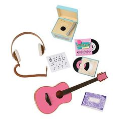 doll accessories Music lovers will adore the Our Generation Retro Records music accessory set for dolls, with miniature turntable, records, and doll-sized guitar! American Girl Doll Sets, Ropa American Girl, Og Dolls, Girl Dolls, Our Generation Doll Accessories, Our Generation Doll Clothes, Poupées Our Generation, Accessoires Barbie, American Girl Accessories