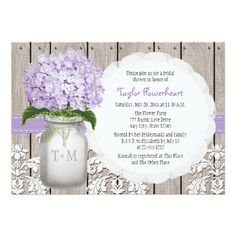 Pretty rustic style monogrammed mason jar bridal shower invitations with light purple lilac hued hydrangea flowers and a wooden fence and antique damask pattern lace background and stitched purple ribbon. These invites can be personalized with the initials and monogram of the bride and groom on the mason jar. These invites are perfect for a country, farmhouse, garden party or barnyard style wedding shower. Designed by Chrissy H. Studios, LLC.