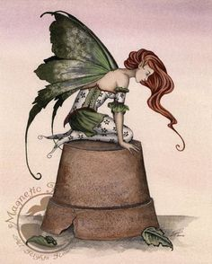 Garden Helper by Amy Brown // my bestie would love this cuz she is a great gardner. brings plants like LuLu back to life Beautiful Fantasy Art, Beautiful Fairies, Amy Brown Fairies, Dark Fairies, Fantasy Dragon, Elves Fantasy, Fantasy Fairies, Unicorns And Mermaids, Gothic Fairy