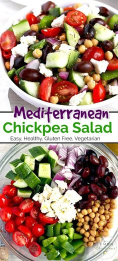 This Chickpea Salad is loaded with crisp cucumbers juicy tomatoes tasty onions Kalamata olives green bell peppers and creamy Feta cheese. Tossed in a simple Greek Salad Dressing this Mediterranean Chickpea Salad is fresh and super easy to make. Mediterranean Salad Dressing, Mediterranean Chickpea Salad, Mediterranean Diet Recipes, Greek Chickpea Salad, Garbanzo Salad, Greek Cucumber Salad, Best Greek Salad, Healthy Snacks, Healthy Eating