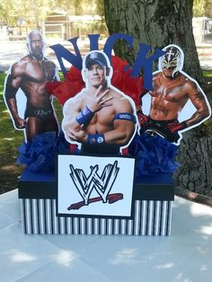 WWE party centerpice I made for my nephew's birthday party!