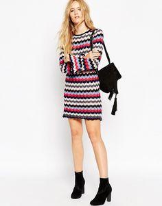 Image 4 ofASOS A Line Tunic Dress in Knit Chevron Stripe