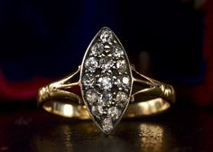 1890s Marquise-Shaped Mine Cut Diamond Cluster Ring 18K Gold, Silver Top, $1295