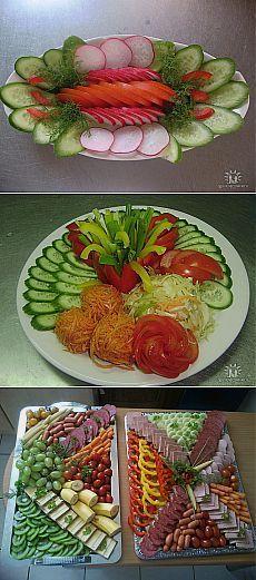 Нарезка на праздничный стол. Food Design, Salad Design, Meat Trays, Food Platters, Cheese Platters, Veggie Tray, Vegetable Dishes, Catering Food, Catering Display