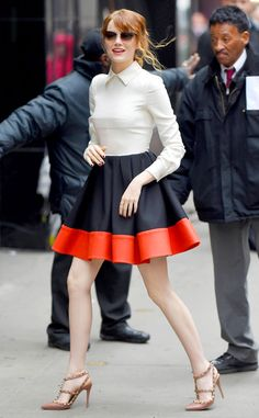 Great Gams from Celebrity Street Style Emma Stone makes her way to Good Morning America looking lovely in a Valentino dual colored skirt.