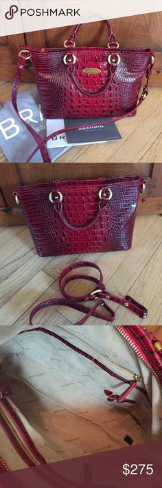 """Brahmin Red Croc Leather handbag  detachable strap In mint condition, like new. 12""""x8 3/4""""x4"""". Small strap drop 4"""". Detachable shoulder strap 20-23"""". Zipper closure, 2 internal zippered pouches, 2 internal open pouches, pen holder, one external open pouch on front. It comes with registration card and storage bag. Brahmin Bags Shoulder Bags"""
