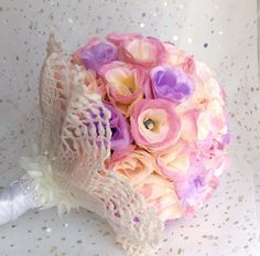 Rosebud bridesmaid bouquet, flowergirl bouquet, pink and lilac, fabric flowers, wedding accessories - pinned by pin4etsy.com