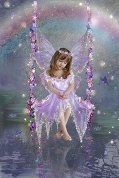 The Swing. I imagine some days that my beautiful angel babies in heaven look this glorious Fairy Dust, Fairy Land, Fairy Tales, Fairy Pictures, Angel Pictures, Art Watercolor, Images Vintage, I Believe In Angels, Beautiful Fairies