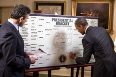 POTUS FILLS OUT HIS BRACKETS:  For the sixth straight year, the President filled out his brackets for the NCAA men's and women's basketball tournaments. On the men's side, he has Louisville, Michigan State, Florida, and Arizona headed to the Final Four, with the Spartans winning it all.  ~ March 19, 2014.