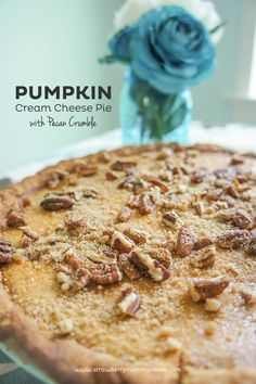 Pumpkin Cream Cheese Pie with Pecan Crumble on www.strawberrymommycakes.com #fallrecipe #pumpkin