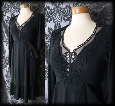 Gothic Long Black Lace Bib CRUEL GOVERNESS Fitted Dress 8 10 Victorian Vintage - £36.00