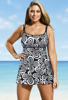 Longitude Black and White Carnaby allover Lingerie Swimdress http://www.swimsuitsforall.com/Longitude-Black-and-White-Carnaby-allover-Lingerie-Swimdress