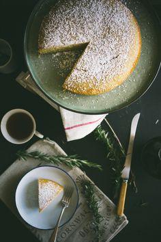 rosemary, semolina olive oil lemon cake