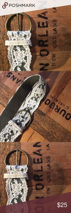 """Bohemian studded lace belt white & army green 38"""" total length. Five holes unknown Accessories Belts"""