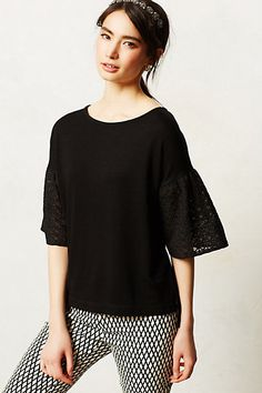 Anthropologie Laced Lantern Top Sz S, Black Scoopneck Blouse Lacy Sleeves, Dolan #Dolan #KnitTop #Casual