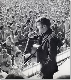 """Elvis onstage at Russwood Park, Memphis, TN - July Elvis' FIRST Charitable Benefit Show with proceeds going to """"The Cynthia Milk Fund"""" and """"The Variety Club's Home for Convalescent Children. Scotty Moore, Tupelo Mississippi, Rockabilly Music, Elvis In Concert, Young Elvis, American Legend, Elvis Presley Photos, Chuck Berry, Fans"""