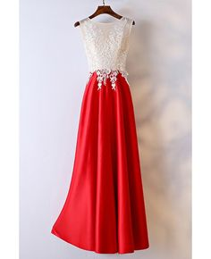 White And Red Lace Long Formal Dress For Women Womens Clothing Stores 768438fe29