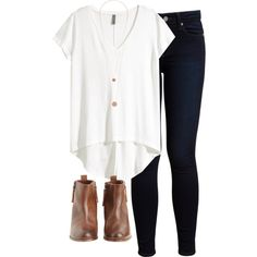 A fashion look from February 2016 featuring white t shirt, blue skinny jeans et high heel booties. Browse and shop related looks.