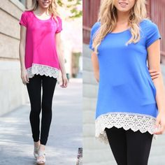 The MILLIE lace edge top - 2 colors Super fun & vibrant SOLID SHIRT WITH LACE ON BOTTOM. Make a splash with these fun POP OF COLOR. AVAILABLE IN BLUE & FUSCHIA. 96% poly, 4% spandex. Tops