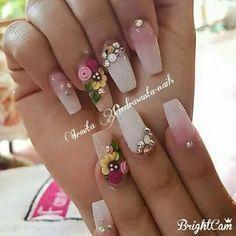 Really creative nail art idea for Diy Nail Designs, Acrylic Nail Designs, Acrylic Nails, 3d Nails, Cute Nails, Pretty Nails, Nail Polish Art, Gel Nail Art, Fabulous Nails