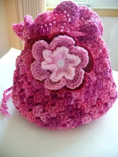 ON SALE  Pink Girl's Drawstring Bag by ACCrochet on Etsy, $8.00