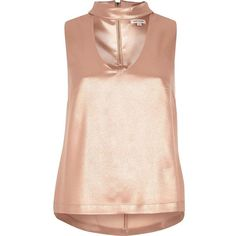 River Island Rose gold satin choker top ($56) ❤ liked on Polyvore featuring tops, cami / sleeveless tops, gold, women, sleeveless tank, pink cami, pink tank top, pink top and pink camisole