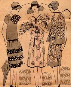 the 1920s-1928 dresses    I like the contrast bands on the far left dress, and the hip yoke on the middle dress.  The jacket would work well for sun cover.  But probably not all together...